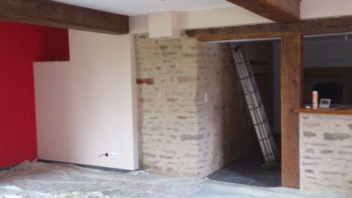 Fin des peintures salon salle a manger renovation d 39 une fermette en bourgogne - Peinture salle a manger moderne ...
