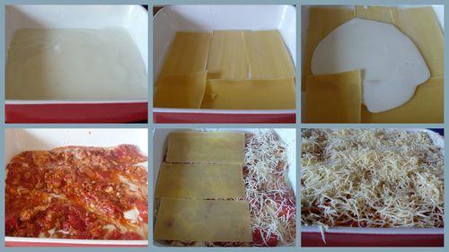 Lazagnes 3 oignons 2 ails 600g viande hachée 2 bte tomate