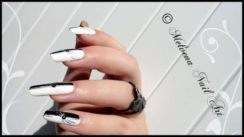 nail art noir blanc argent