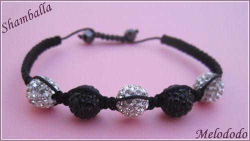 Bracelet Shamballa Noir et Crystal 10 mm