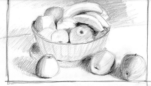 croquis corbeille de fruits