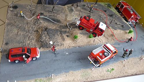 diorama accident pompiers a