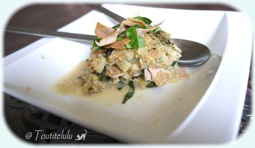 quinoasotto aux asperge blanc de poulet et blette sans glut