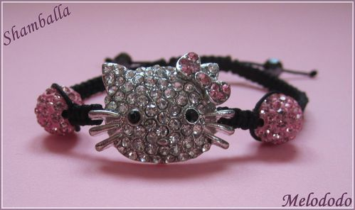 Bracelet Shamballa Hello Kitty Rose Clair