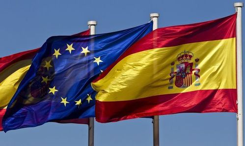 84186 a-european-union-flag-flies-next-to-a-spanish-flag-in