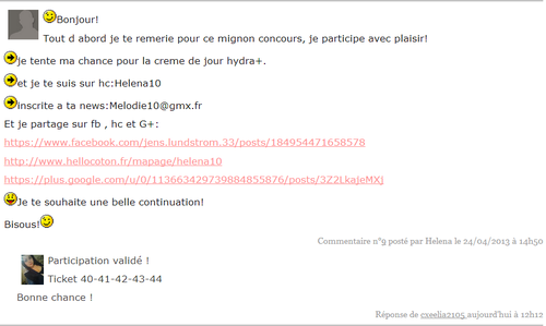 commentaire gagnant concours ylae