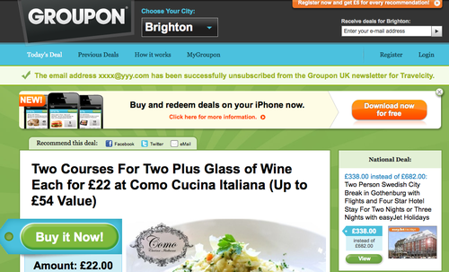 groupon spam technic