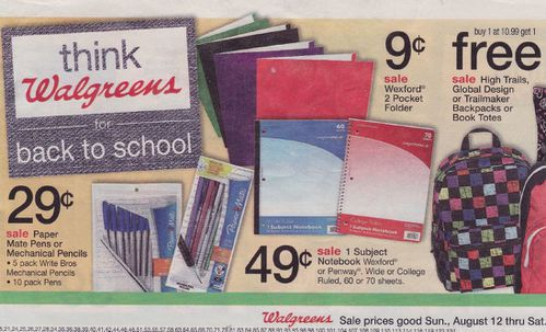 Back to school Walgreens