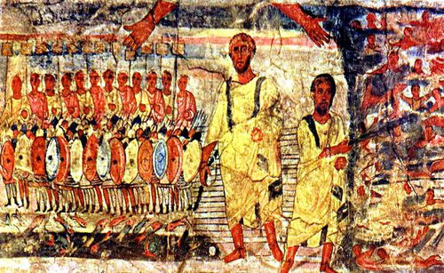 Fresco of Moses and the Exodus, from the Dura Europos synag