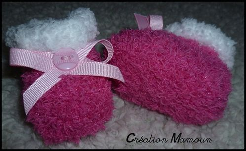 chaussons doux roses 2