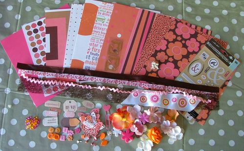 kit scrap rose orange marron 002