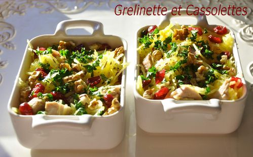 Cassolette de pintade la courge spaghetti grelinette et cassolettes - Comment cuisiner courge spaghetti ...