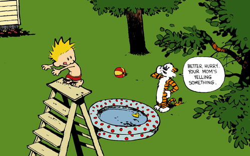 Calvin and Hobbes Swimming by xX Pureness Xx