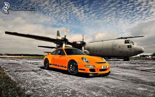 porsche 911 gt3 rs, auto sportive, aereo,