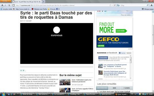 Euronews roquettes part baath