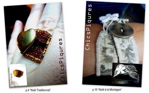bague et bracelet textile en tissu et cuir noël rouge et o