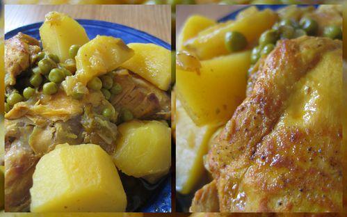 Tajine de poulet aux pommes de terre et aux petits pois - Cuisiner avec un tajine en terre cuite ...