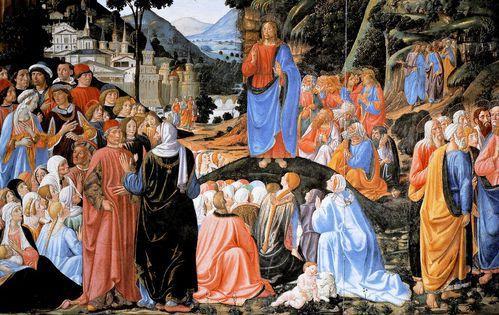 Cosimo rosselli sermon sur la montagne chapelle sixtine