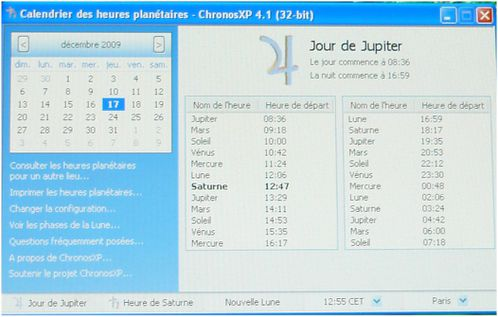 calendrier planetaire