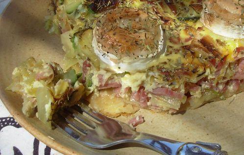 Tarte poireaux, courgette, jambon, chèvre4
