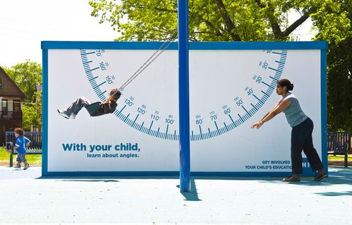 Protractor swing advertising billboard for kid