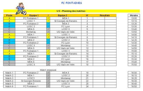 U9 Planning Matches