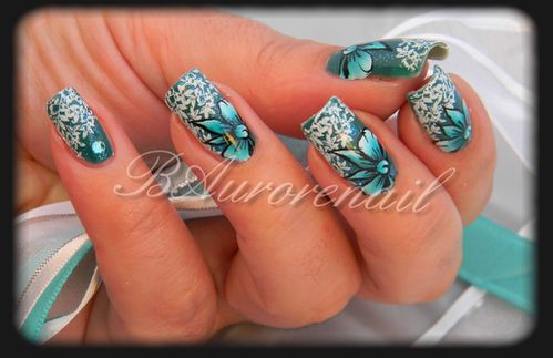nail art noeud bleu one stroke les ongles de bea. Black Bedroom Furniture Sets. Home Design Ideas