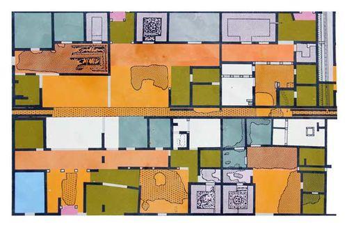 837g4 six maisons (d'un groupe de 10) avec mosaïques