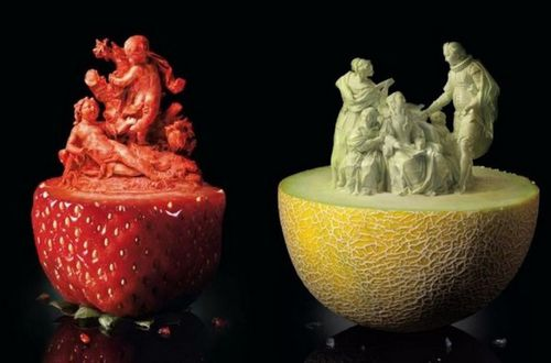 food-art - dessert - sculpture melon fraise