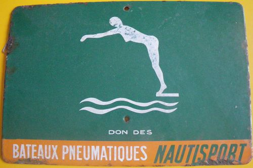 Camping, plaque publicitaire, Nautisport, Coll.France Poulain