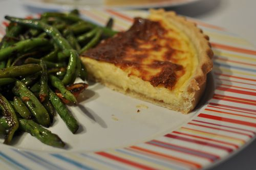 Tarte-au-fromage,-haricots