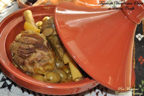 tajine de viande , olives et citron confit