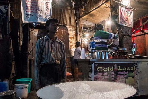 Inde, Delhi, vendeur de lassi à Pahar Ganj