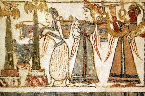 740h6c Sarcophage d'Agia Triada, scène de culte mortuaire