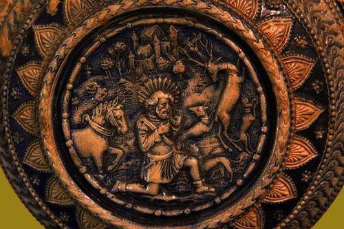 781f2 Vase représentant saint Hubert, 17e-18e siècle