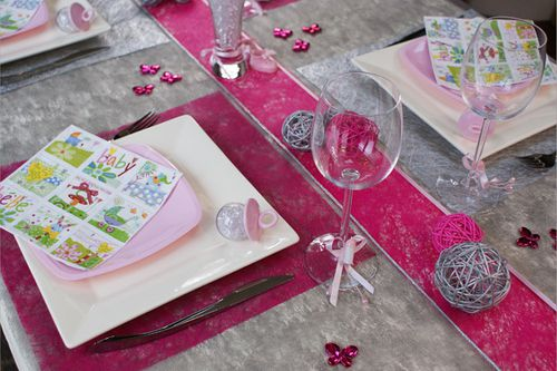 Deco Table Bapteme Rose Et Gris