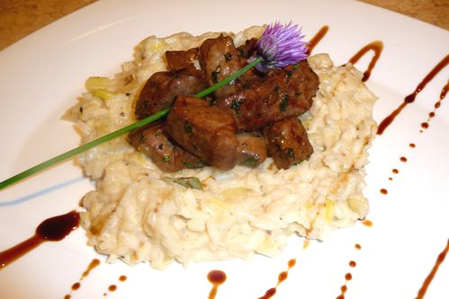 risotto aux poireaux foie de veau au vinaigre balsamique les recettes de virginie. Black Bedroom Furniture Sets. Home Design Ideas