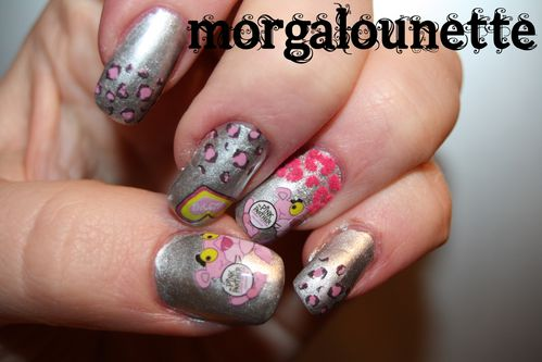 nail art morgalounette panthère rose