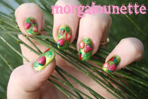 nail art fraise morgalounette