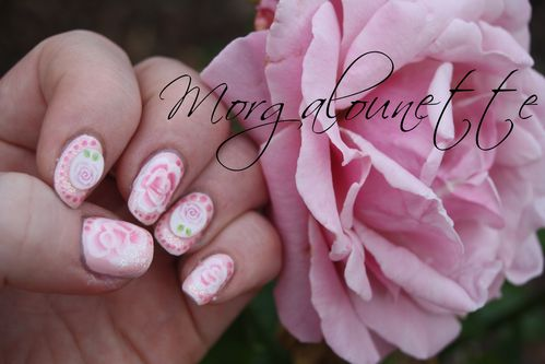 nail art rose au one stroke morgalounette
