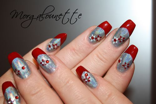 French Rouge sur Holographique et stamping strass -copie-2