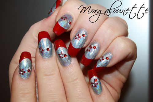 French Rouge sur Holographique et stamping strass -copie-4