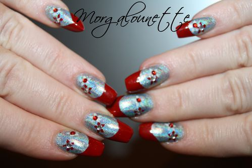 French Rouge sur Holographique et stamping strass -copie-5