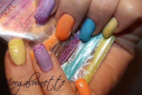 nail art arc en ciel dégradé paillette morgalounette (1)