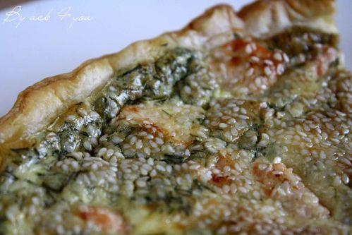 tarte au saumon, aneth, sésame 2