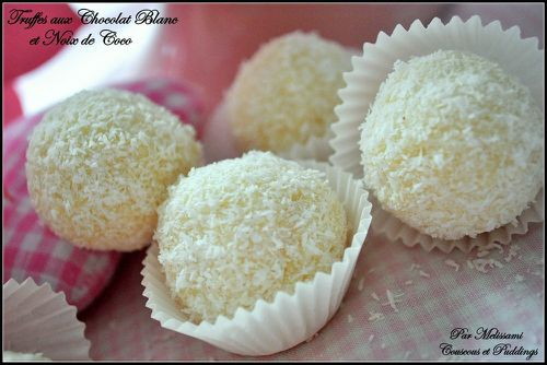 White Chocolate, Lemon and Coconut Truffles - Couscous and pudding