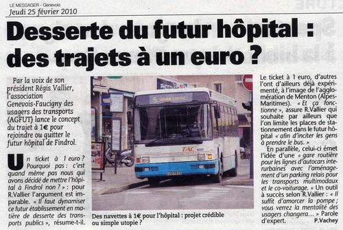 Hôpital A-B Transport tarif 1€