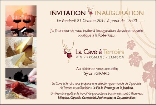 Carton d' inauguration La Cave à Terroirs Robertsau page 1