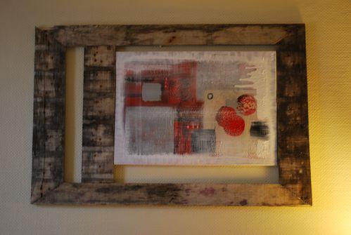 tableau abstrait 120 80 avec palette de recup 39 lesateliersdebichette. Black Bedroom Furniture Sets. Home Design Ideas