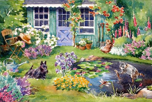 La cabane au fond du jardin peinture illustration et - Laurent gerra cabane au fond du jardin ...